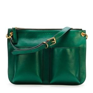 Marni Green Bandoleer soft leather bag purse